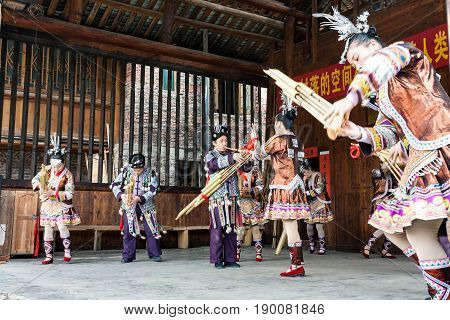 Musicians In Dong Culture Show In Chengyang