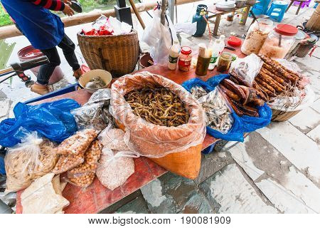 Stall With Snacks On Local Market In Chengyang