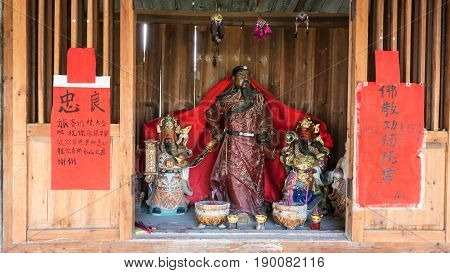 Religious Altar With Figures In Chengyang Village
