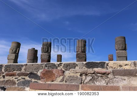 Toltec Warriors columns topping the Pyramid of Quetzalcoatl in Tula, Mexico