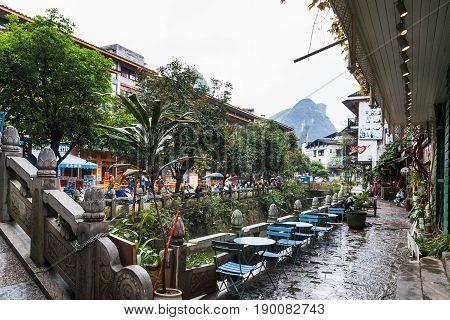 Waterfront In Yangshuo Town In Spring