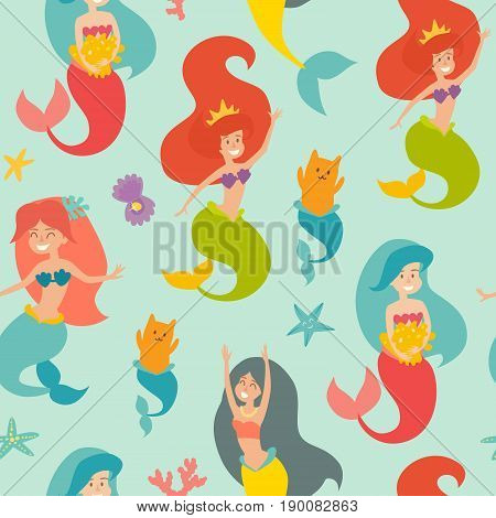 Marine vector pattern. Seamless pattern with cute mermaids cat pearl and starfish. Design for wrapping fabric textile. Sea background with cute mermaid girls