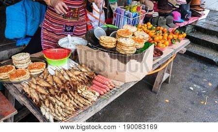 Fast Food Stall In Market In Xingping Town