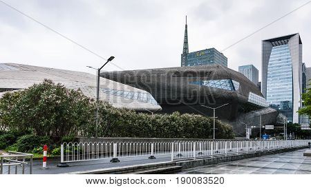 Street And Opera House In Guangzhou City