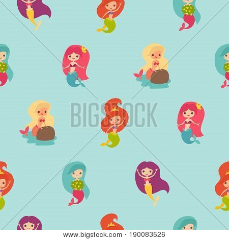 Mermaid girls seamless pattern. Marine vector pattern. Cute mermaid on the blue background. Under the sea theme. Design for wrapping fabric textile