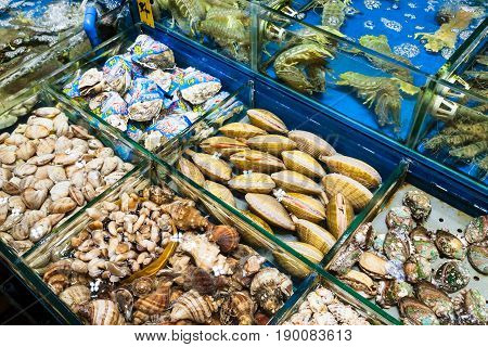 Various Clams In Fish Market In Guangzhou City