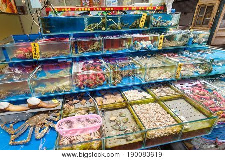 Various Seafood In Fish Market In Guangzhou City