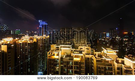 Skyline Of Guangzhou City With Residential Quarter
