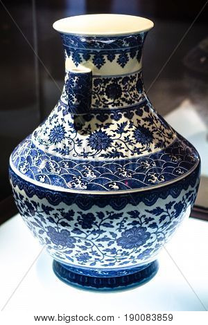 Blue Chinese Vase In Chen Clan Ancestral Hall