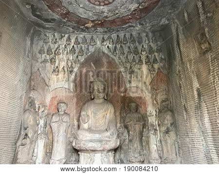 Sculptures With Sakyamuni Statue In Grotto