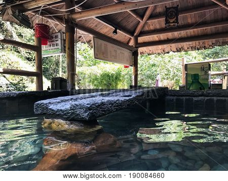 Stone Pool With Warm Water From Hot Spring In Spa