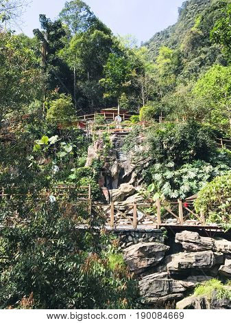 Path To Bathhouse With Hot Spring In Jiangdi