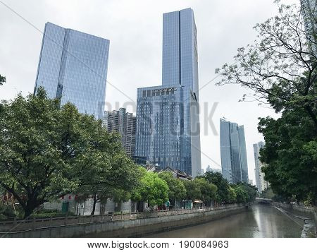 Skyscrapers On Waterfront In Guangzhou City