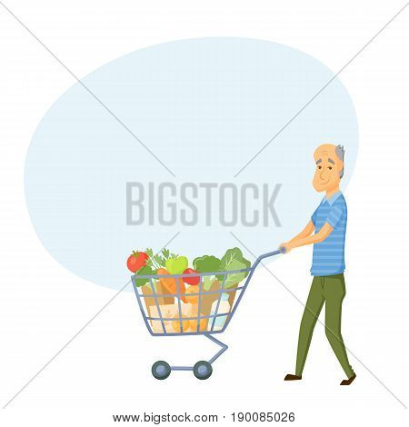 Older men with shopping cart full of healthy food. Senior buy vegetable on market. Grandpa buy products.
