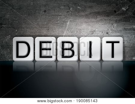 The word Debit concept and theme written in 3D white tiles on a dark background.