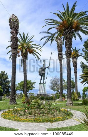 GASTOURI, GREECE - MAY 15: Statue of Achilles in Achilleion palace on May 15, 2017 in Gastouri, Corfu island in Greece. Achilleion was the palace of empress Elisabeth of Austria, also known as Sisi.