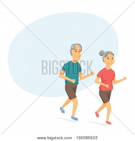 Seniors running and smiling. Pensioners jogging together. Old man and women leisure vector illustration. Healthy lifestyle