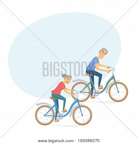 Seniors bicycling and smiling. Pensioners ride bike together. Old man and women leisure.