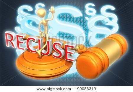 Recuse Legal Gavel Concept With The Original 3D Character Illustration
