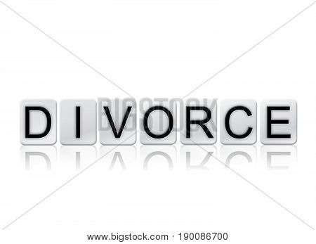 The word Divorce concept and theme written in 3D white tiles and isolated on a white background.