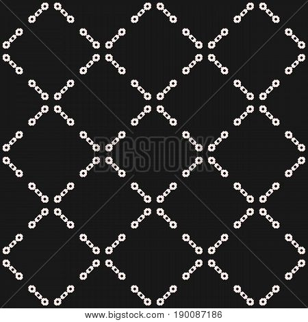 Vector seamless pattern. Subtle monochrome background. Simple geometric pattern. Figures chains pattern. Diagonal lattice pattern. Square grid pattern. Abstract dark repeat background. Design pattern, prints pattern, cover pattern, web pattern