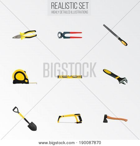 Realistic Hatchet, Arm-Saw, Pliers And Other Vector Elements. Set Of Instruments Realistic Symbols Also Includes Tongs, Instrument, Saw Objects.