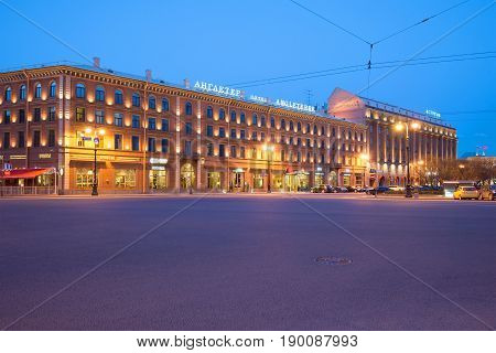 ST PETERSBURG, RUSSIA - MAY 03, 2017: Angleterre and Astoria Hotels in May twilight on the St. Isaac's Square