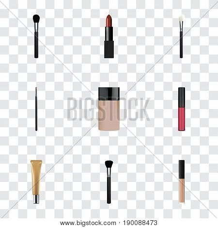 Realistic Cover, Pomade, Contour Style Kit And Other Vector Elements. Set Of Maquillage Realistic Symbols Also Includes Collagen, Concealer, Cover Objects.