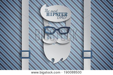 Happy Fathers Day card design for male event banner or poster. Striped blue background with suspenders paper cut hipster men's face silhouette with beard mustache and glasses. Vector illustration