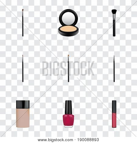 Realistic Varnish, Cosmetic Stick, Liquid Lipstick And Other Vector Elements. Set Of Greasepaint Realistic Symbols Also Includes Pomade, Lips, Liquid Objects.