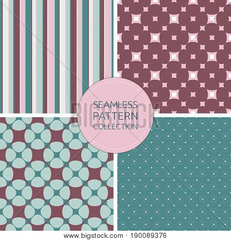 Seamless patterns vector. Collection retro fashion backgrounds set. Stylish color pattern. Marsala pattern. Pink pattern. Turquoise pattern. Gray pattern. Design pattern, covers pattern, invitations pattern, decoration pattern, wrapping paper pattern.