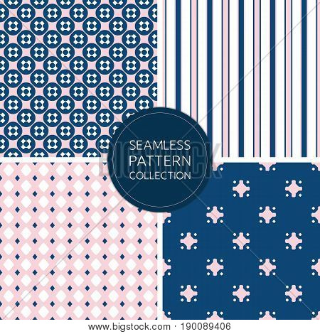 Fashion seamless pattern. Collection stylish patterns. Pink pattern. Navy blue pattern. Minimalist geometric pattern. Repeat abstract backgrounds. Design pattern, decoration pattern, covers pattern, prints pattern.