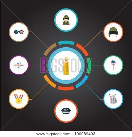 Flat Icons Fire Wax, Soldier Helmet, Medallion And Other Vector Elements. Set Of Memorial Flat Icons Symbols Also Includes Usa, Holiday, Memorial Objects.