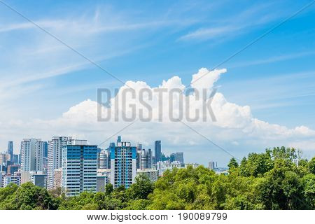 Singapore City with rich forest in blue sky and cloud View point from Henderson Wave Singapore