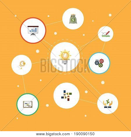 Flat Icons Arise, Gear, Coin And Other Vector Elements. Set Of Projects Flat Icons Symbols Also Includes Gear, Workflow, Light Objects.