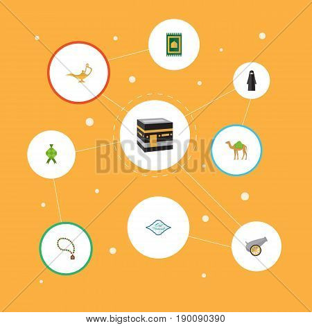 Flat Icons Dromedary, Genie, Bead And Other Vector Elements. Set Of Religion Flat Icons Symbols Also Includes Lamp, Eid, Prayer Objects.