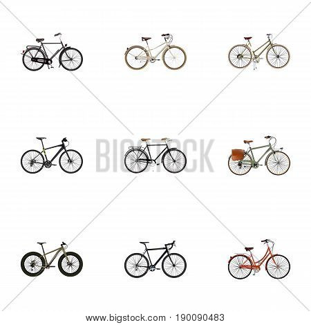 Realistic Old, Hybrid Velocipede, Training Vehicle And Other Vector Elements. Set Of  Realistic Symbols Also Includes Bike, Old, Woman Objects.