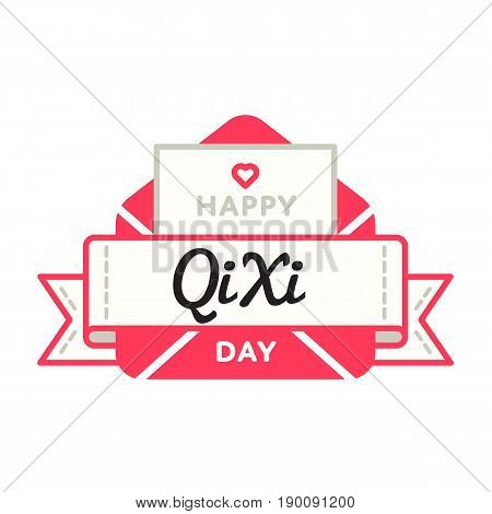Happy Qi Xi day emblem isolated vector illustration on white background. 28 august chinese romantic holiday event label, greeting card decoration graphic element