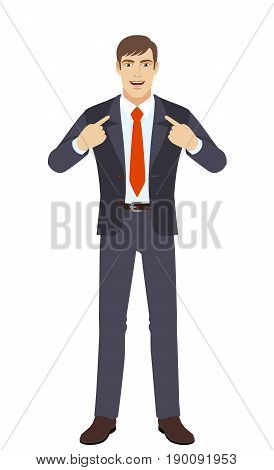 Self-promotion. Businessman pointing at himself. Full length portrait of businessman character in a flat style. Vector illustration.