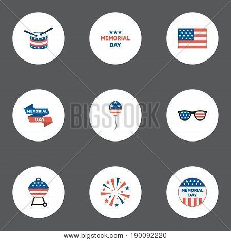 Flat Icons American Banner, Decoration, Musical Instrument And Other Vector Elements. Set Of Memorial Flat Icons Symbols Also Includes Instrument, Brazier, Bbq Objects.