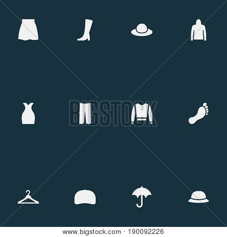 Vector Illustration Set Of Simple Wardrobe Icons. Elements Skirt, Elegant Headgear, Wardrobe Hook And Other Synonyms Elegant, Hanger And Hook.