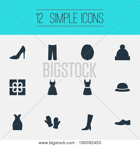 Vector Illustration Set Of Simple Clothes Icons. Elements Sundress, Attire, Hat And Other Synonyms Mittens, Pants And Gown.