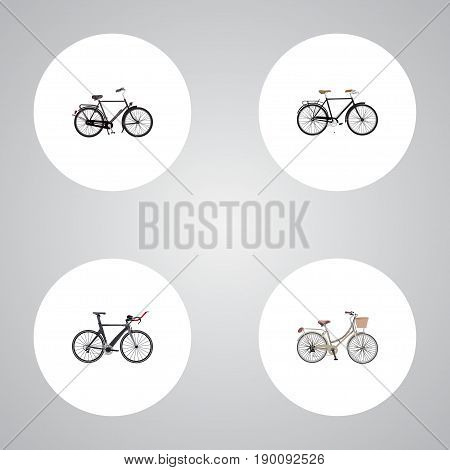 Realistic Training Vehicle, Brand , Competition Bicycle Vector Elements. Set Of Bike Realistic Symbols Also Includes Velocipede, Vintage, Brand Objects.