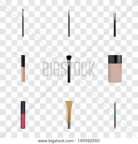 Realistic Concealer, Liquid Lipstick, Collagen Tube And Other Vector Elements. Set Of Greasepaint Realistic Symbols Also Includes Pomade, Stick, Blending Objects.