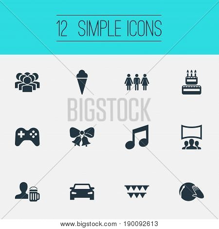 Vector Illustration Set Of Simple Party Icons. Elements Bells, Beer, Birthday Pie And Other Synonyms Acquaintances, Bow And Decoration.