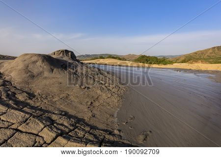 landscape in Mud Volcanoes. Buzau county Romania