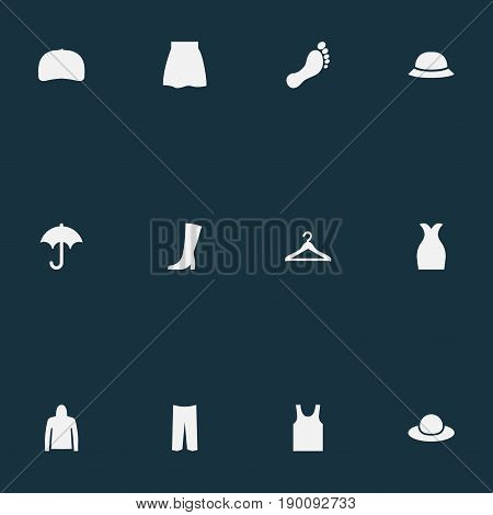 Vector Illustration Set Of Simple Dress Icons. Elements Brolly, Sweatshirt, Elegant Headgear And Other Synonyms Barefoot, Footwear And Cap.