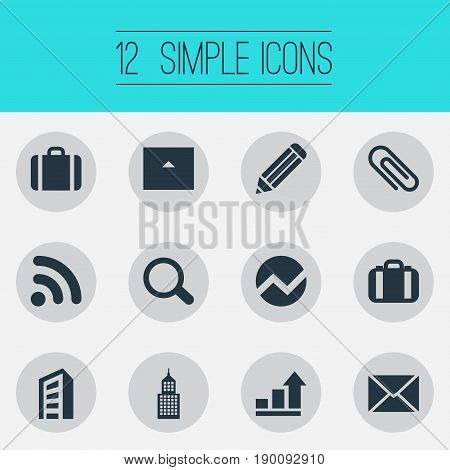 Vector Illustration Set Of Simple Company Icons. Elements Letter, Cottage, Building And Other Synonyms Document, Graph And Increase.