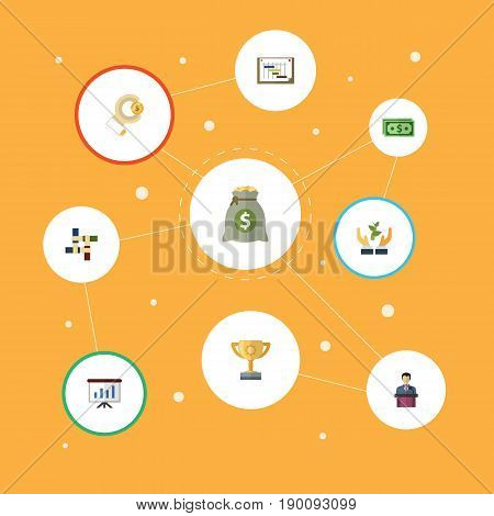Flat Icons Incentive, Coin, Schedule And Other Vector Elements. Set Of Startup Flat Icons Symbols Also Includes Incentive, Money, Sponsor Objects.