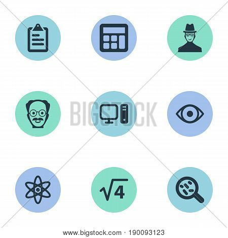 Vector Illustration Set Of Simple Science Icons. Elements Bacterium, Square Root, Reckoning And Other Synonyms Electronic, Mathematics And Loupe.